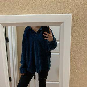 Blue velvet sweater top